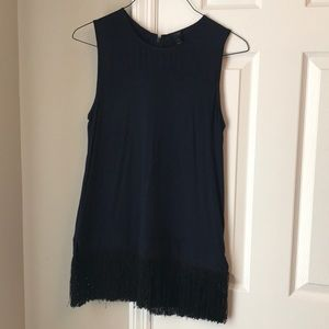 Navy blue fringe tank top
